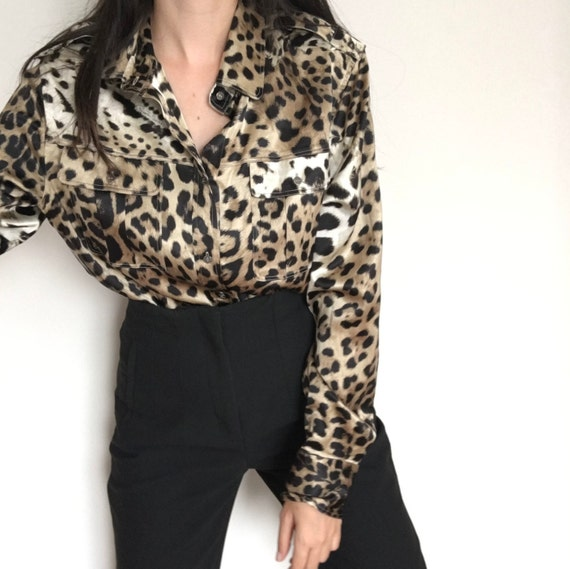 Authentic Roberto Cavalli Silk Shirt / Animal Prin