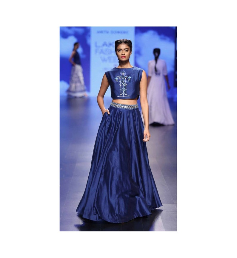 ac7c7d1dddb Designer Crop Top And Skirt For Wedding: Exclusive New Designer Crop Top  Skirt Bollywood Style
