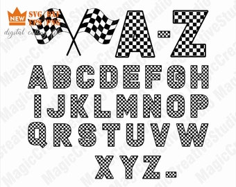 84390fa83508 Checkered Alphabet SVG   Checkered Letters   Racing Flag   SVG