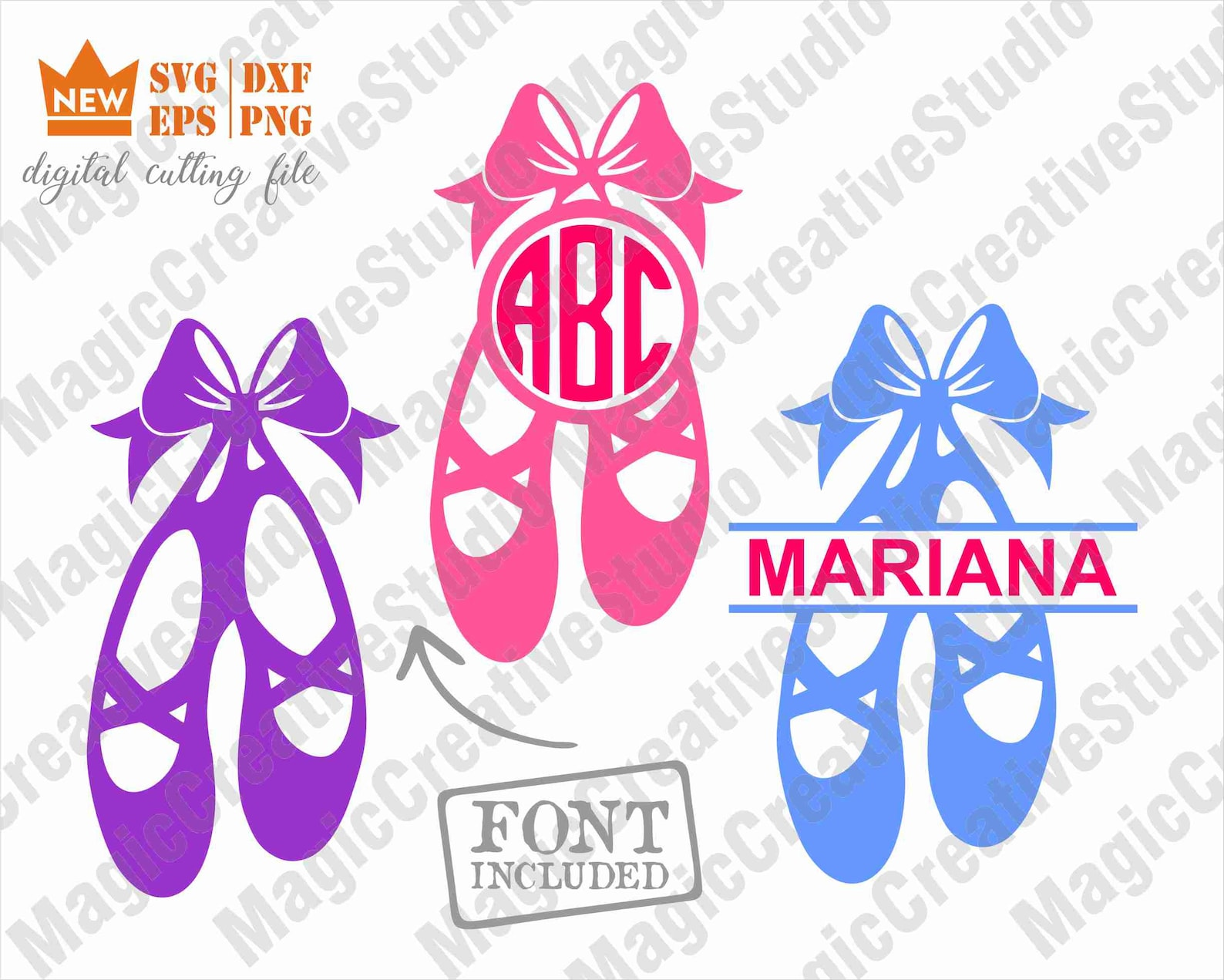 ballerina svg / ballet shoes svg / ballet shoes monogram svg / dance svg / svg, png, dxf, eps files / silhouette cut files, cric