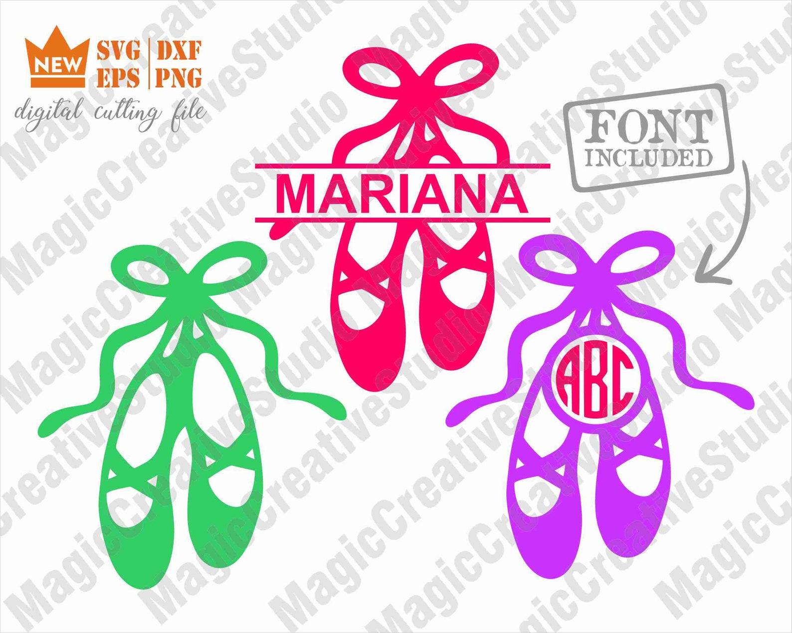 ballet shoes monogram svg / ballerina svg / ballet shoes svg / dance svg / svg, png, dxf, eps files / silhouette cut files, cric