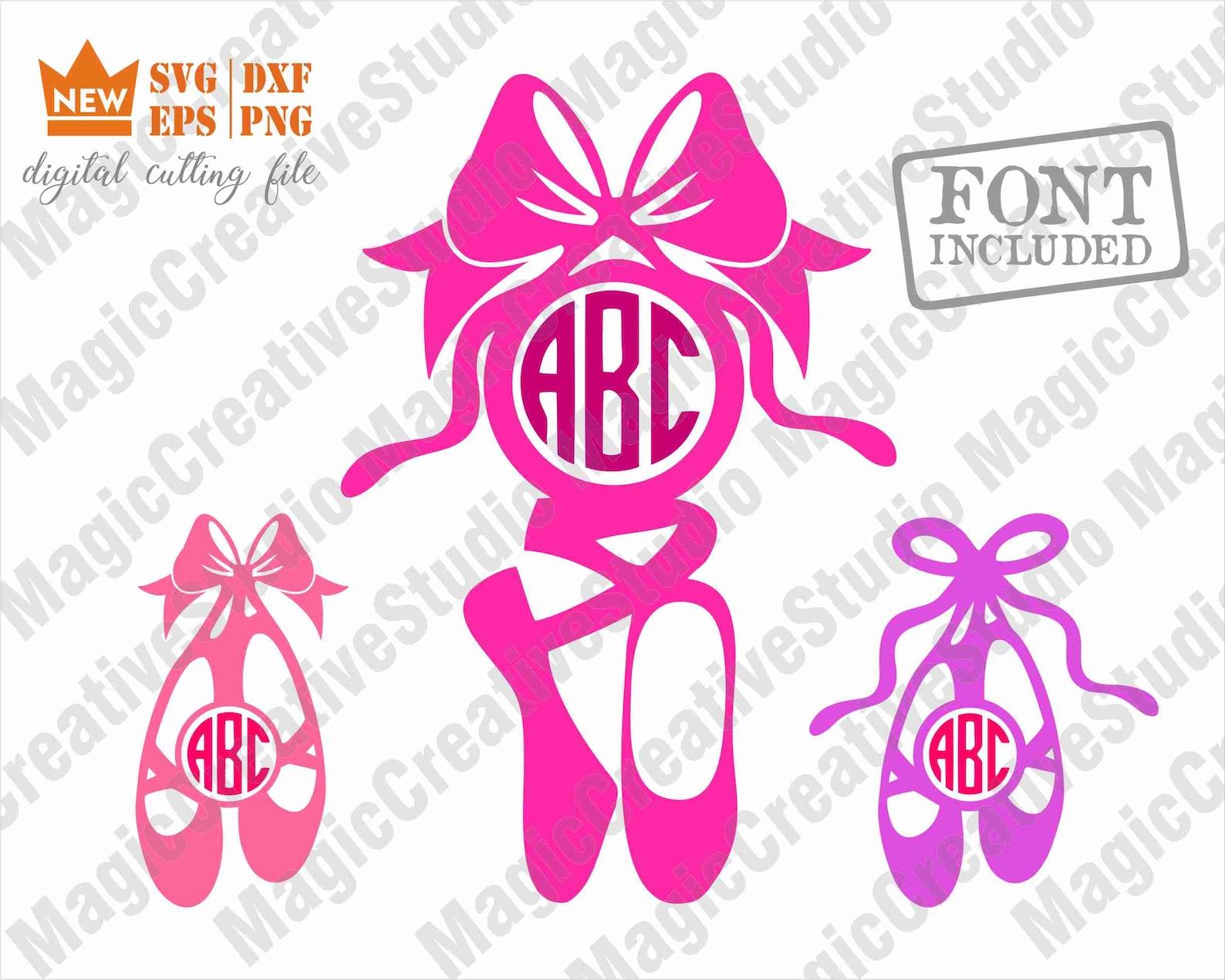 ballet svg / ballet shoe monogram svg / ballet svg files, ballerina svg files, ballet monogram cut file, for cricut machine inst