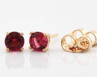 eabb82161 Gold Stud Earrings 18k Minimalist Jewelry 5 mm CZ Earrings Ruby Stud  Earrings Girlfriend Birthday Gift For Daughter Elegant Studs Earrings