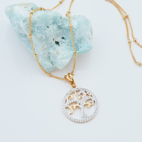 Tree of life necklace gold Family tree necklace Nature necklace Yoga necklace Tree of life jewelry Zircon necklace Moms gift for grandmother