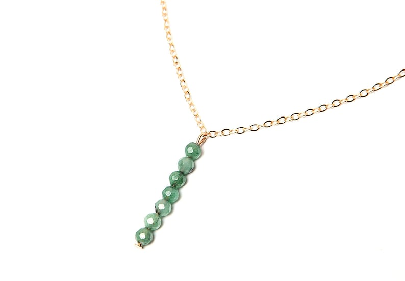 Emerald Necklace Gold Vertical Bar Necklace Crystal Necklace Emerald Jewelry Gem May Birthstone Necklace Womens Birthday Gift For Girlfriend