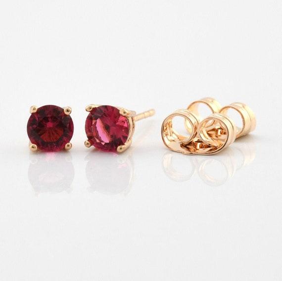 Gold Stud Earrings 18k Minimalist Jewelry 5 mm CZ Earrings Ruby Stud Earrings Girlfriend Birthday Gift For Daughter Elegant Studs Earrings
