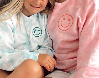 Embroidered Smiley Face Tie Dye Sweatshirt | Smile Embroidered Sweatshirt | Smiley Face Embroidered Sweatshirt | Smiley Face sweatshirt