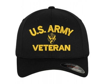 7b57cbb84bfcec Personalized U.S. Army Veteran Embroidered Flexfit Flex Fit Baseball Cap Hat  with or without personal name stitched