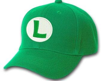 Luigi Embroidered Green Adjustable Baseball Cap Hat with or without  customized personalized name 44276679144