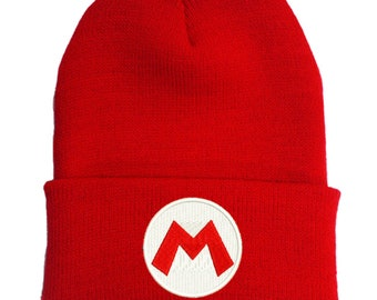 caff9561c9e Super Mario Embroidered Red Beanie Hat