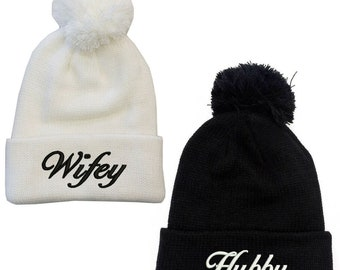 d36da8d1fd8 Wifey   Hubby Pom pom beanie set of 2 hats white and black the cutest  couple hats! Embroidered Quality Gift for Loved ones