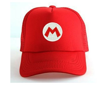 Super Mario Embroidered Red Mesh Trucker Baseball Cap Hat with or without  customized name d007887ead85