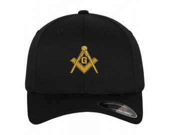 87f4157a7 Freemason Mason Masonic Symbol Flex Fit Flexfit Stretch Fit Black Baseball  Cap Hat with or without personalized name