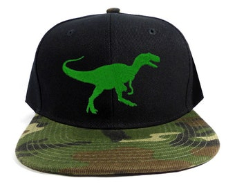 de80b67f7d096 Kid Youth Black Camouflage Camo Snap Back Snapback Baseball cap hat  Tyrannosaurus Dinosaur embroidered with name stitched on the back T-REX