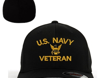 385be1ef6cb67 U.S. Navy Veteran USN Veteran Embroidered Flexfit Flex Fit Baseball Cap Hat  with or without personal name stitched