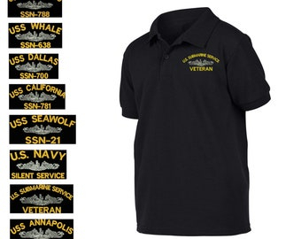 Military USS WHALE SSN-638 SHIP Black Polo shirt poloshirt