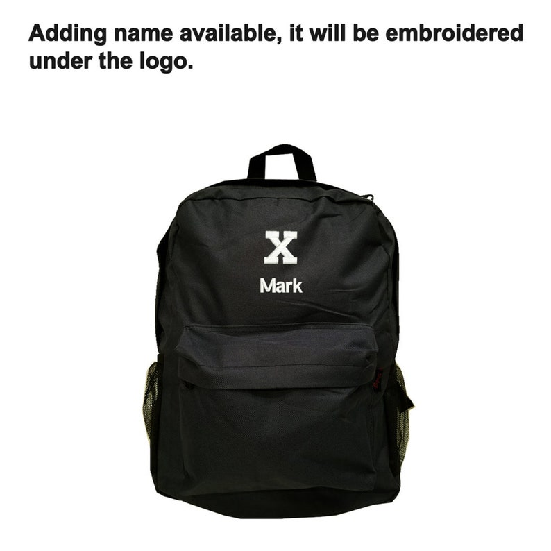 NAVY BLUE Backpack Bag with MALCOLM X LOGO EMBROIDERED