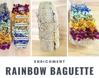 Rainbow Baguette | Herbal Loofah Chew Toy for Bunny Rabbits, Guinea Pigs, Chinchillas, Gerbils, Hamsters, Rats, Small Pets | Luffa