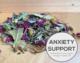 Anxiety Support Herbal Blend | Organic Hay Topper, Forage, Nesting Herbs | Bunny Rabbit, Guinea Pig, Chinchilla, Gerbil, Hamster, Chicken