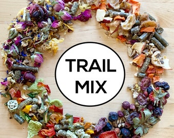 Trail Mix | Organic Hay Topper, Forage, Nesting Herbs | Bunny Rabbit, Guinea Pig