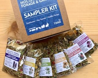 Sampler Kit: Tonic Support Blends Line | Organic Hay Topper | Herbal Forage & Garnish |Bunny Rabbit, Guinea Pig, Chinchilla, Gerbil, Hamster