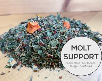 Molt Support Herbal Blend | Organic Hay Topper, Forage, Nesting Herbs | Bunny Rabbit, Guinea Pig, Chinchilla, Gerbil, Hamster, Chicken