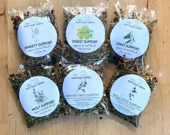 Sample Set of Herbal Support Blends | Organic Hay Topper & Forage for Bunny Rabbit, Guinea Pig, Chinchilla, Gerbil, Hamster
