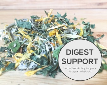 Digest Support Herbal Blend | Organic Hay Topper, Forage, Nesting Herbs | Bunny Rabbit, Guinea Pig, Chinchilla, Gerbil, Hamster, Chicken