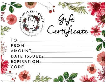 Gift Certificate for The Well Kept Rabbit Shop