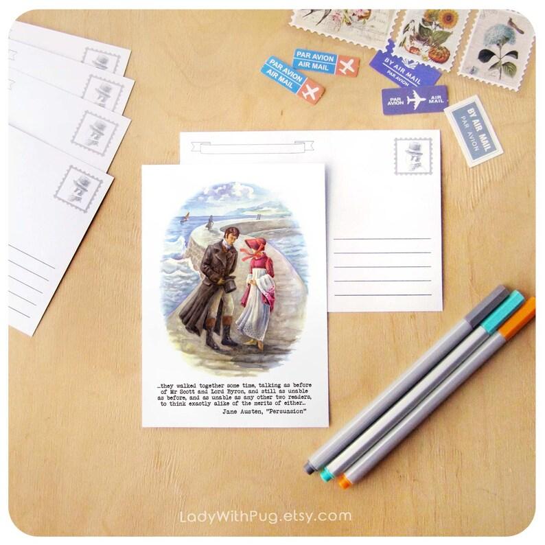 3 Jane Austen Persuasion Postcards; Anne Elliot; Janeite gift; Austenite Snail Mail Postcrossing; Book illustration; Original watercolor art