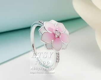 ed95183d0 Abby Jewelry S925 Sterling Silve Magnolia Bloom, Pale Cerise Enamel & Pink  CZ Rings For Women Men Ring