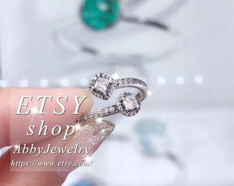 3d3a10bf3 Abby Jewelry S925 Sterling Silver Abstract Elegance With Clear CZ Ring For  Women Men Ring