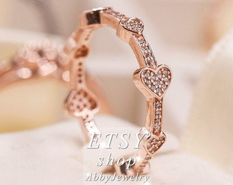c5f12673f Abby Jewelry Rose gold and S925 Sterling Silver Alluring Hearts Ring With  Crystal & CZ Ring For Women