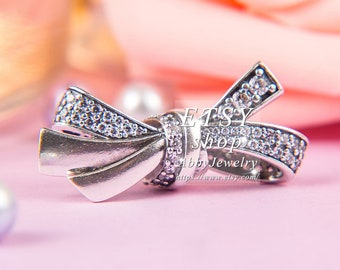 f4d879afc Abby Jewelry 925 Sterling Silver Brilliant Bow With Clear CZ Charm Bead Fit  European Dora DIY Bracelets Necklaces