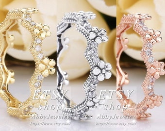 89ecc1b858 Abby Jewelry S925 Sterling Silver,Gold plated, Rose gold Flower Crown With  CZ Rings For Women Men Ring