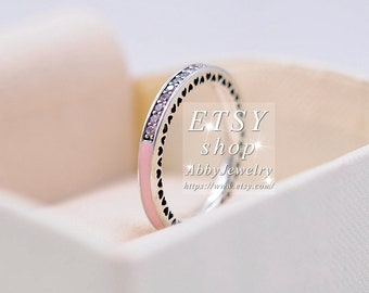17349e69f Abby Jewelry S925 Sterling Silver Pink Enamel Radiant Hearts With Pink CZ  Rings For Women Men Ring