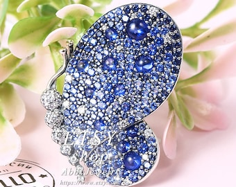 0fd1d4711 Abby Jewelry S925 Sterling Silver Dazzling Blue Butterfly Pendant / Brooch  With Cubic Zirconia Charm Brooch or Necklace Pendant