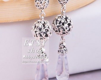 2e214230b Abby Jewelry S925 Sterling Silver Regal Droplets With Clear CZ Dangle  Earrings For Women men