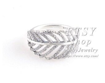 ef3fd3da0 Abby Jewelry S925 Sterling Silver Light As a Feather Pavé Ring Stackable  Rings For Women Men Rings
