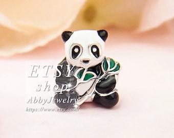 dc06c8035 Abby Jewelry 925 Sterling Silver Sweet Panda Mixed-Enamel Beads Bracelet  For Woman Charm Bracelet Jewelry Making