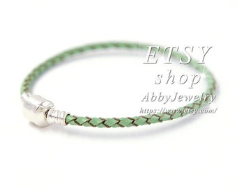 627716cce Abby Jewelry S925 Sterling Silver Green Woven Leather Charms Bracelet For  DIY Charms Beads