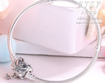 4110694fc Abby Jewelry 925 Sterling Silver Decorative Butterfly Clear CZ Clasp  Standard Snake Chain Charm Bracelet For Dora DIY European Charm Bead