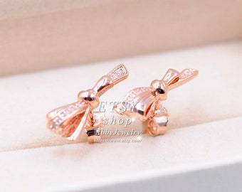 2352fc64c Abby Jewelry S925 Sterling Silver Plated Rose gold Brilliant Bows CZ Stud  Earrings For Women Men
