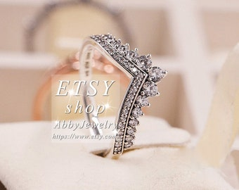 33137e59e Abby Jewelry S925 Sterling Silver Princess Wish With CZ Rings For Women Men  Ring