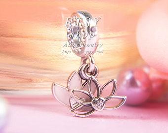 5c140e379 Abby Jewelry 925 Sterling Silver Serene Lotus Flower Enamel and CZ Dangle  Charm Bead Fit European Dora DIY Bracelets Necklaces