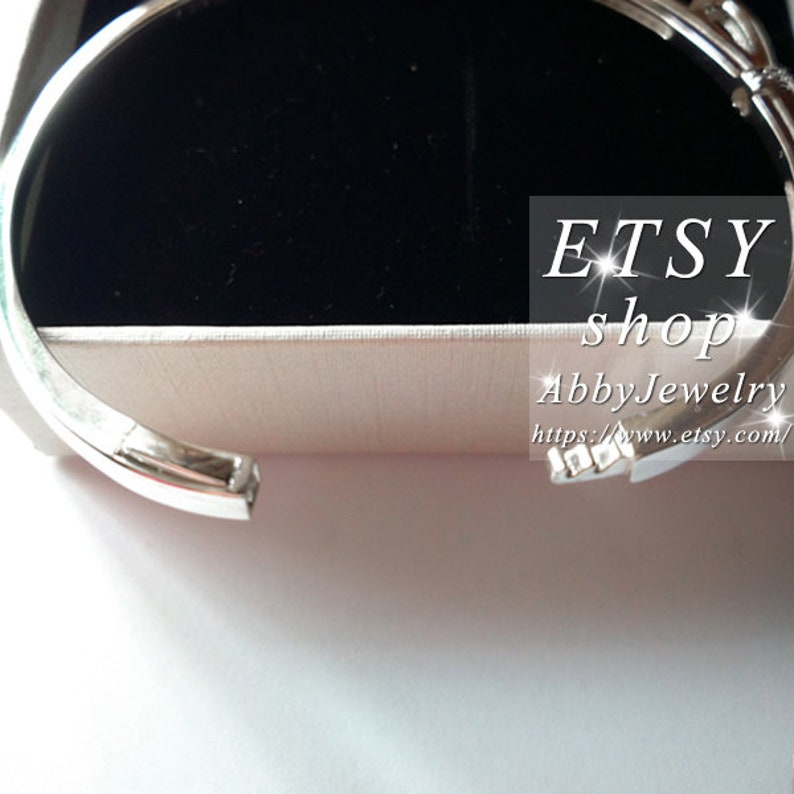 Abby Jewelry S925 Sterling Silver Sparkling Bow Clear CZ Charm Bangle Fit European Dora DIY Charm Beads