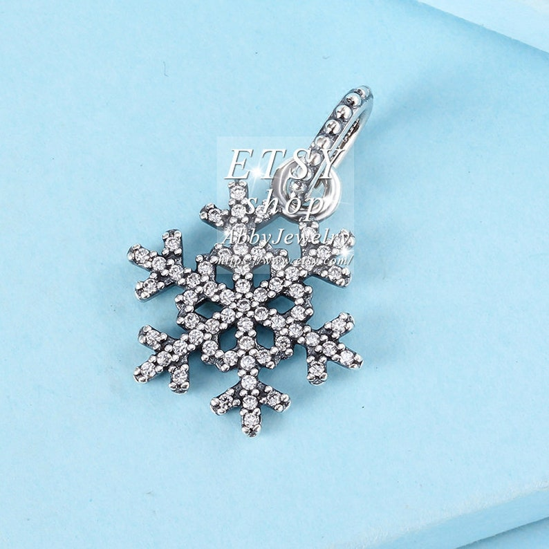 Abby Jewelry 925 Sterling Silver Snowflake With Clear CZ Dangle Beads Bracelet For Woman Charm Bracelet Jewelry Making