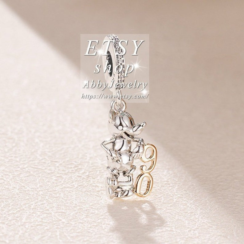 Abby Jewelry S925 Sterling Silver Disney Mickey Mouse 90th Anniversary Gold-plated Dangle Charm Bead For European DIY Bracelets Necklaces