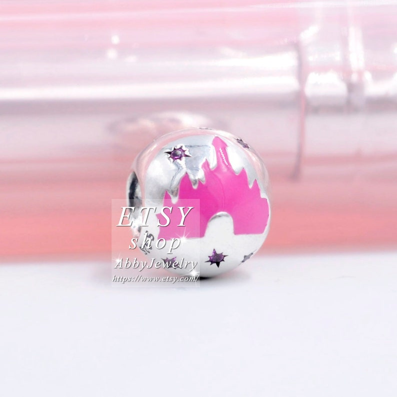Abby Jewelry S925 Sterling Silver Disney Charms Parks Pink Castle With Enamel /& Pink CZ Beads For Bracelet Jewelry Making
