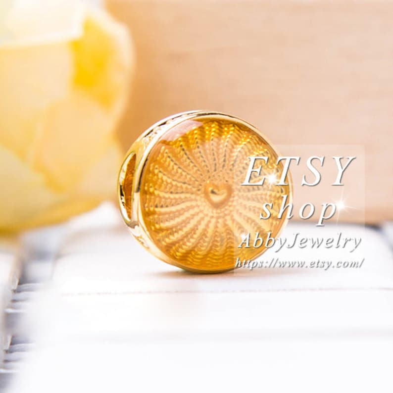 Abby Jewelry Gold Overlay S925 Sterling Silver Shine Rays Of Sunshine Charm bead Fits European DIY Bracelets Necklaces